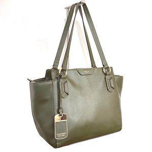 LRL Olive Leather Satchel/ shoulder Bag